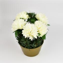 Dušičková dekorace s chryzantémami 23 cm, bílá