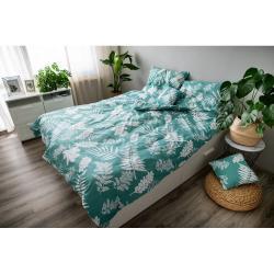 Zelené bavlněné povlečení Cotton House Palma, 140 x 200 cm