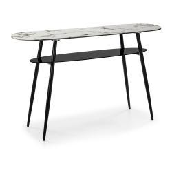 Bílo-černý konzolový stolek se skleněnou deskou v mramorovém dekoru Marckeric Alina