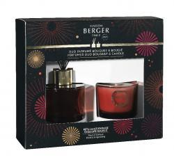 Maison Berger Paris dárková sada Duo Mini - aroma difuzér Cercle s náplní + vonná svíčka, Intenzivní třpyt