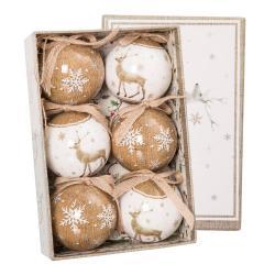 Sada 6 béžovo-bílých vánočních ozdob Unimasa Deers