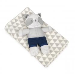 Babymatex Dětská deka šedá s plyšákem medvídek, 75 x 100 cm