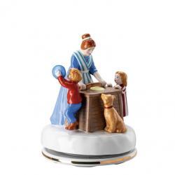 Rosenthal vánoční hrací skříňka motiv Pečení cukroví, Vánoční pečení, Ø 12 cm