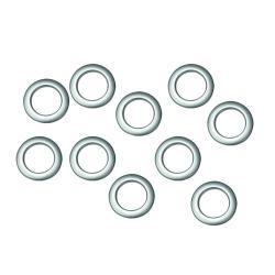 Kroužky látkové stříbrné, matné 10 ks