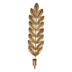Kovový svícen ve zlaté barvě Green Gate Leaf, výška 50 cm