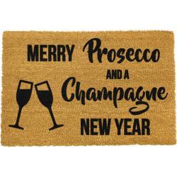Černá rohožka z přírodního kokosového vlákna Artsy Doormats Champagne New Year,40x60cm