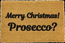 Černá rohožka z přírodního kokosového vlákna Artsy Doormats Merry Prosecco,40x60cm