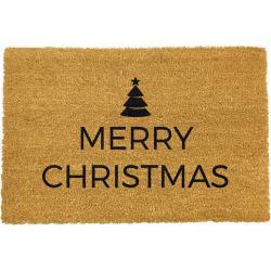 Černá rohožka z přírodního kokosového vlákna Artsy Doormats Merry Christmas,40x60cm