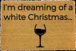 Černá rohožka z přírodního kokosového vlákna Artsy Doormats White Wine Christmas,40x60cm