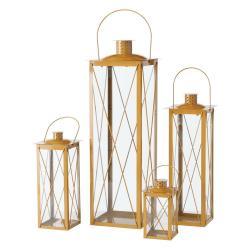 Sada 4 skleněných luceren ve zlaté barvě Boltze Farol