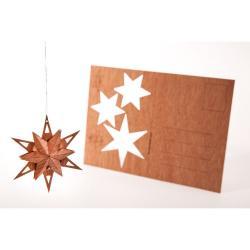 Dřevěná pohlednice Formes Berlin Trojhvězda, 14,8 x 10,5 cm