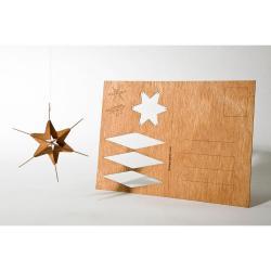 Dřevěná pohlednice Formes Berlin Hvězda, 14,8 x 10,5 cm
