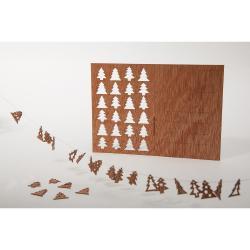Dřevěná pohlednice Formes Berlin s 24 stromky, 14,8 x 10,5 cm