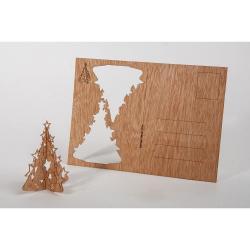 Dřevěná pohlednice Formes Berlin Vánoční stromeček, 14,8 x 10,5 cm
