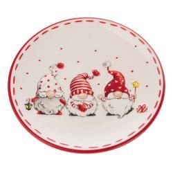 Červeno-bílý keramický talíř s motivem trpaslíků Dakls