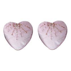 Altom Sada sametových vánočních ozdob Shiny Hearts 2 ks, růžová