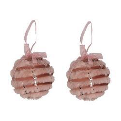 Altom Sada plyšových vánočních ozdob Balls 2 ks, růžová