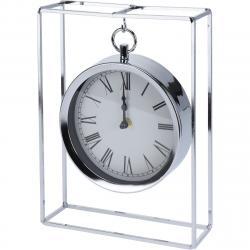 Stolní hodiny Erada stříbrná, 18,8 x 5,8 x 25 cm
