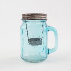 Modrý skleněný svícen Dakls, výška13,5cm