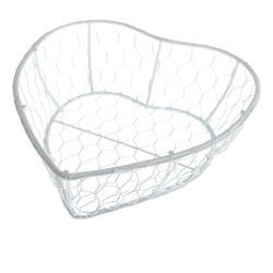 Bílý kovový košík vetvaru srdce Dakls