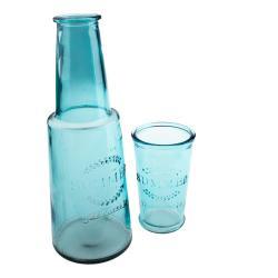 Modrá skleněná karafa sesklenicí, 800ml