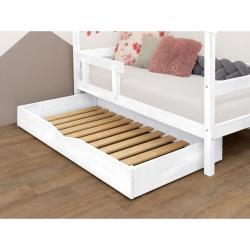 Bílá dřevěná zásuvka pod postel Benlemi Buddy,90x140cm