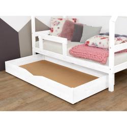 Bílá dřevěná zásuvka pod postel Benlemi Buddy,80x140cm