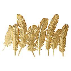 Kovový nástěnný věšák ve zlaté barvě Kare Design Leaf, šířka86cm