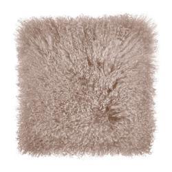 TASHI Polštář z tibetské jehněčí kůže 40 x 40 cm - šedohnědá