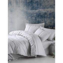 Světle šedé bavlněné povlečení s prostěradlem Cotton Box Elba, 200 x 220 cm