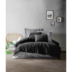Černo-šedé bavlněné povlečení s prostěradlem Cotton Box Plain, 200 x 220 cm