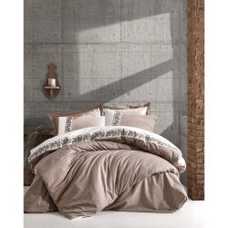 Béžové bavlněné povlečení s prostěradlem Cotton Box Rosinda, 200 x 220 cm