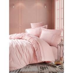 Pudrově růžové bavlněné povlečení s prostěradlem Cotton Box Elba, 200 x 220 cm