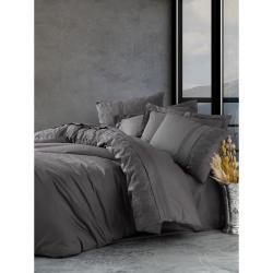 Tmavě šedé bavlněné povlečení s prostěradlem Cotton Box Enzo, 200 x 220 cm