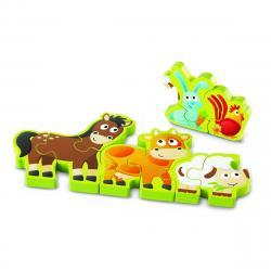 Hape Oboustranné puzzle Zvířátka a číslice 10 dílků, 34,2 x 1,2 x 13 cm