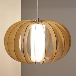 EGLO Závěsné světlo Stellato s dřev. Stín. javor 50 cm