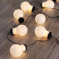 Černý LED světelný řetěz ve tvaru žárovek DecoKing Bulb, 10 světýlek, délka2,2m