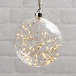 Best Season Glow LED dekorační koule ze skla, Ø 15 cm čirá