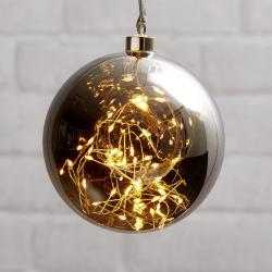 Best Season Glow LED dekorační koule ze skla, Ø 15cm šedá