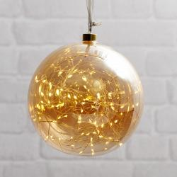 Best Season Glow LED dekorační koule ze skla, Ø 20 cm jantar