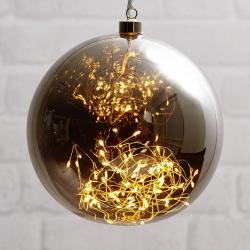 Best Season Glow LED dekorační koule ze skla, Ø 20 cm šedá