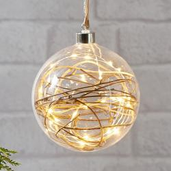 Best Season Glow LED dekorační koule čirá, ratan Ø 15 cm