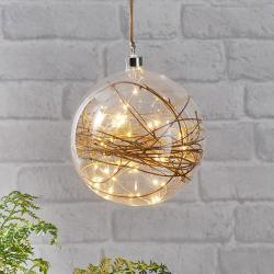 Best Season Glow LED dekorační koule čirá, ratan Ø 20 cm