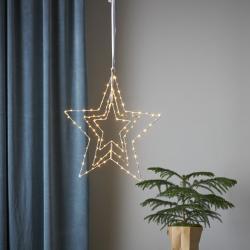 Best Season Triple LED dekorativní hvězda, stříbrná