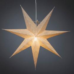 Konstmide CHRISTMAS Hvězda bílý papír, děrovaný vzor, 7cípá