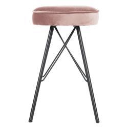 Růžová barová stolička se sametovým potahem WOOOD, výška53cm