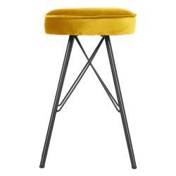 Žlutá barová stolička se sametovým potahem WOOOD, výška53cm