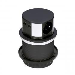 Solight Výsuvný prodlužovací blok se 3 zásuvkami a 2x USB, černá