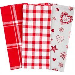 Forbyt Vánoční kuchyňská utěrka Vločka a srdce červená, 45 x 70 cm, sada 3 ks
