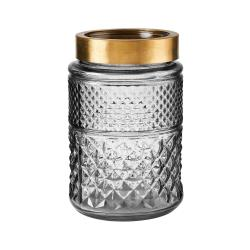 GRACE Váza 20 cm - šedá/zlatá